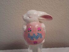 """Old Papel Brush Painted Ceramic Bunny Rabbit Figurine Named """"Amanda"""" Holding Egg"""