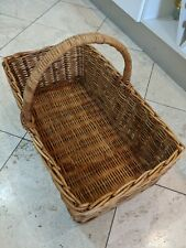 LARGE VINTAGE TRADITIONAL WICKER BASKET WITH CARRY HANDLE - SHOPPING/PICNIC
