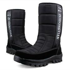 Mens Winter Fur Lined Snow Boots Waterproof Insulated Warm Mid Calf Boots Shoes