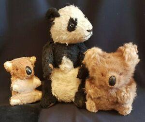 1940s 1950s Straw Stuffed Panda Two Mohair Koala Bears Vintage Retro Soft Toy