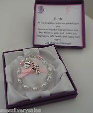 God daughter 1st Birthday Christening present Bracelet personalised box & verse