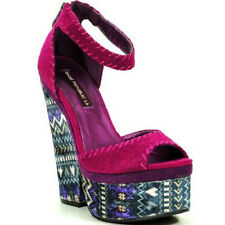 Berry Fabric Tribal Half Wedge Open Toe Platform Heel Women's Shoes US sz.7.5