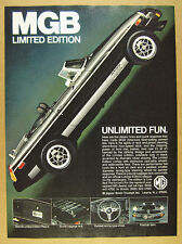 1979 MG MGB Limited Edition black car color photo vintage print Ad