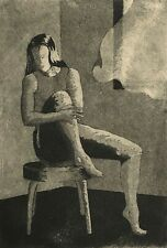 JAMES DARLING 1989 MODERNIST ABSTRACT FIGURE PORTRAIT STUDY ETCHING