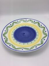 """Williams Sonoma Italy Hand Painted Platter Plate Round Blue Green Yellow  14"""""""