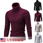 US Winter Men Slim Warm Knit High Neck Pullover Jumper Sweater Top Turtleneck