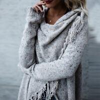 Women Irregular Tassel Knitted Cardigan Sweater Poncho Shawl Coat Jacket Outwear