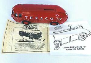 ERTL 1934 Texaco Diamond T Tanker Doodle Bug Die-cast Coin Bank Toy 1994