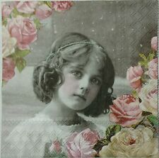 VINTAGE FLOWER GIRL 2 single LUNCH SIZE paper napkins for decoupage 3-ply