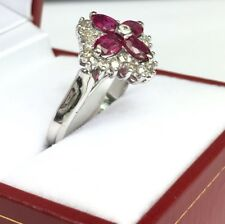 14K Solid White Gold Cluster Flower Diamond 0.70 CT Ring With Natural Ruby, Sz 7