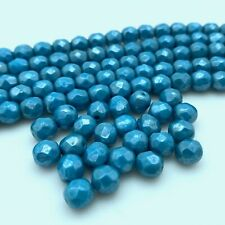Faceted Turkish Blue Czech Glass Rosary Beads (6x7mm) (Bcg138)