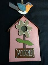 Birdhouse Welcome Sign 12 x 7 Pink Wood Plaque Blue Bird Wall or Door Hanging