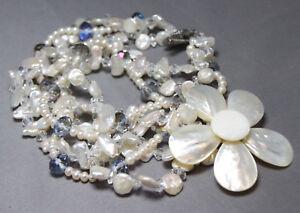 "Pearl Shell & Quartz Crystal Necklace 3 strand Flower Pendant 21"" Bridal Wedding"