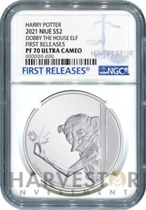 2021 DOBBY THE HOUSE ELF - 1 OZ. SILVER COIN - NGC PF70 FIRST RELEASES W/OGP