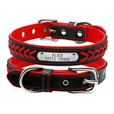 Braided Leather Padded Personalised Dog Collar for Small Medium Dogs XS S M L XL