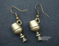 Champagne Glasses Dangle Earrings Vintage Brass Bronze Tone Jewelry Gift Home