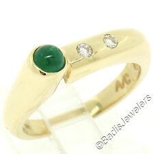 14K Yellow Gold 0.42ctw Bezel Round Cabochon Emerald & Burnish Diamond Band Ring