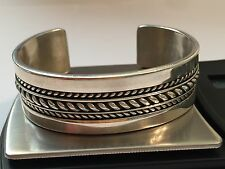 Signed Tom Hawk Sterling Silver Navajo Cuff Bracelet