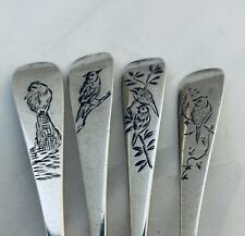 Stunning and Rare Victorian Sterling Bird Engraved Tea Spoons, 1880