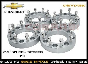 """8x6.5 Wheel Adapters 2.5"""" Fits Chevy,GMC, Hummer 8 Lug Heavy Duty Wheel Spacers"""