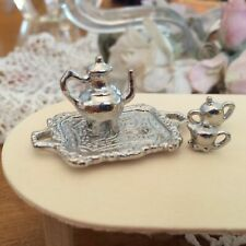 Dollhouse Miniature Silver Tea Service Set w/ Tray, Tea Pot, Sugar & Cream Bowls