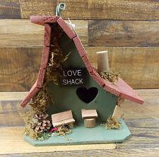 "New listing Birdhouse ""Love Shack"" Rustic Wood Cabin Yard Garden Decor"