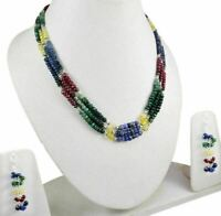 3 Strands Natural Ruby Emerald Sapphire 925 Silver Gem Beads Necklace & Earrings