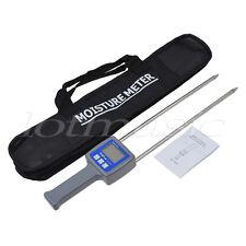 Portable Digital Wood Sawdust Powder Hay Bale Peat Moisture Meter Tester 0-80%