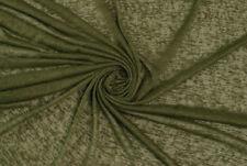 Jersey semi-trasparente misto lino verde kakiSTOFFA AL METRO TESSUTO A METRAGGIO