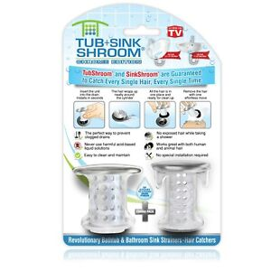 TubShroom & SinkShroom Chrome Combo Pack Hair Catchers Strainers Drain Protector