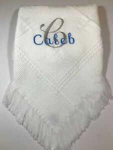 Personalised baby blanket shawl, embroidered baby gift unisex