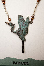 USA-Made Necklace/Earrings Set w/ Bronze Casting of Rising Heron by Cavin Richie