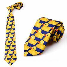 Men Women Funny Yellow Duck Printed Necktie Imitation Silk Cosplay Ties Neckwear
