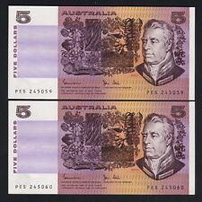 New listing Australia R-208. (1983) 5 Dollars. Johnston/Stone. Unc - Consecutive Pair