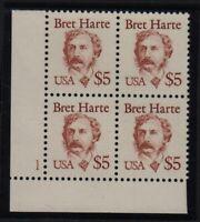 1987 Sc 2196 HARTE $5 MNH plate block, LL CV $45