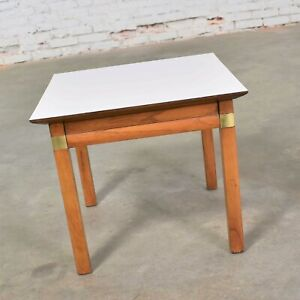 Campaign Style Square Side Table White Laminate Top by Hickory Furniture Mfg.
