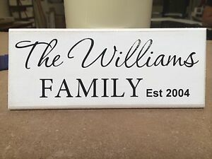"""Personalised Family Established Date, Shabby Chic, sign, plaque 10""""x4"""" p043"""