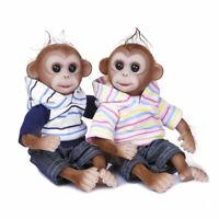 "10"" Realistic Handmade Cute Baby Twins Doll Silicone Reborn Monkey Baby Dolls"