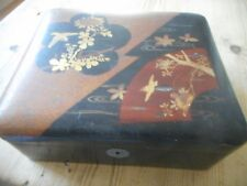Vintage Oriental jewellery box,lacquered top.