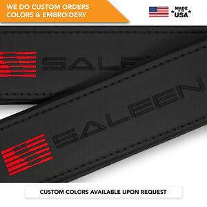Seat Belt Covers Shoulder Strap Leather Pads Custom Made Fits Saleen Black 2PCS