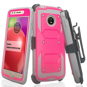 Moto E4 Case, Swivel Holster Clip with Built In Screen Protector Phone Case