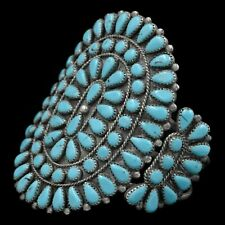 1960's Navajo Pawn Traditional Turquoise Cluster Sterling Silver Cuff Bracelet