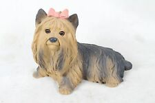 Vintage Shih Tzu Yorkshire Terrier Dog Figurine Collectable Animal Pink Bow Rare