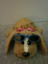 "Pound Puppies Hasbro 14"" Tan Brown Beach Dog Plush Red Collar, Lei & Sunglasses"