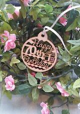 Happy 70th Birthday Wooden Gift Tag