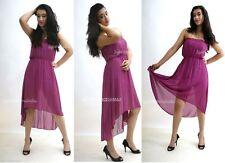 Chiffon Patternless Asymmetric Hem Dresses for Women