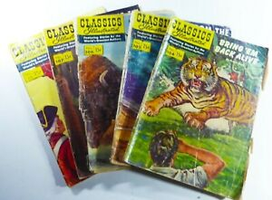 CLASSICS ILLUSTRATED #104 105 106 107 118 READER Lot FROM THE EARTH TO THE MOON