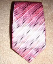 "Via Regina 100% Silk Tie Pink Stripe Made in Como Italy NEW Mens 59"" x 3.25"""