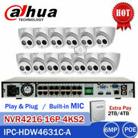 DAHUA 16CH 4K NVR 6MP KIT CCTV System Audio Mic Dome IP IR Camera IPC-HDW4631C-A