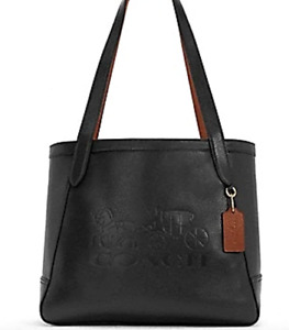 NWT $378 Coach Horse Carriage Tote With Horse And Carriage Black Leather Tote